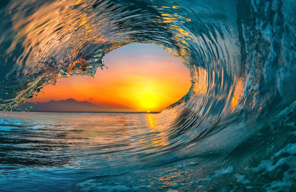 Sunset Sea water ocean wave